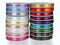 15mm Personalised Printed Satin Ribbon - Wedding Favour Birthday Christening