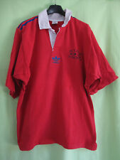 Maillot Rugby Vintage Stade Domontois Adidas Trefoil 80'S rouge Coton Jersey - L