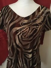 Brittany Black Woman's Shark Bite Hem Top W Sparkle Size Small