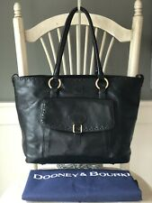 DOONEY & Bourke Florentine Black Leather WhipStitch Large Tote Shoulder Handbag