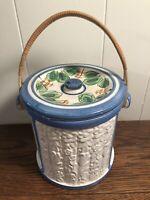 Vintage Ceramic Ice Bucket Biscuit/Cookie Jar w/Handle Blue/White/Floral JAPAN