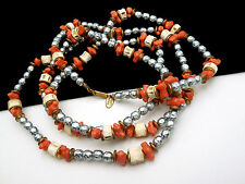 """Vintage Miriam Haskell Necklace 54"""" Grey Baroque Faux Pearl Coral Flapper Length"""