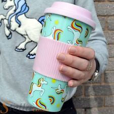 Iris The Unicorn Pink & Blue Plastic Travel Mug Cup With Lid