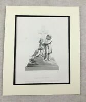 1874 Print Religious Statue  Early at the Cross Sculpture Antique Engraving