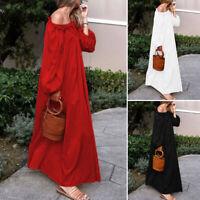 VONDA Women Long Sleeve Off Sleeve Solid Plain Long Maxi Dress Caftan Baggy Plus