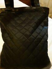 Borsa pelle nera trapuntata donna grande shopper shopping moda matelasse' entra