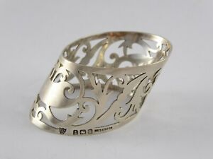 LOVELY ANTIQUE ART NOUVEAU SOLID STERLING SILVER PIERCED NAPKIN RING 1910 18 g