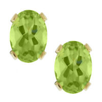 1.40 Ct Oval 7x5mm Green Peridot Gold Plated Stud Earrings