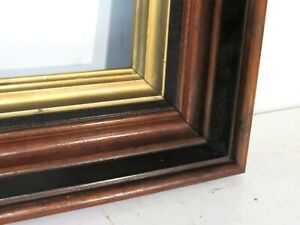 ANTIQUE  WALNUT/ BLACK/ GOLD  GREAT QUALITY  FRAME FOR PAINTING  14 X 11 INCH
