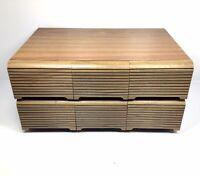 Vintage Audio Cassette Holder 6-Drawer Tape Storage Case Wood Grain HOLDS 72