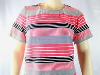 2X CALVIN KLEIN PLUS SIZE STRIPED TOP WATERMELON SOFT WHITE 1038