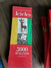 "Vtg Christmas Tree Garland Icicles Tinsel 3000 Strands 18"" Long, VelvetTouch Nos"