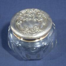Vtg Antique Art Nouveau Vanity Powder Jar Dresser Jar Heisey Glass Repousse Lady