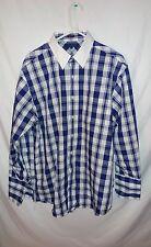 Tommy Hilfiger Blue Plaid Button Down Dress Shirt Size 16 1/2 32-33