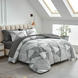Joyreap 6 Piece Bed in a Bag Twin, Light Gray n Brown Stripes Design, Smooth Sof