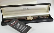 Vintage Mens ORIS Gold Two Tone Date 17J Hand Winding Watch 302-7285B wBox SWISS