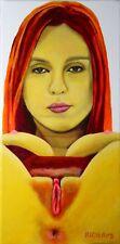 Schnappende Auster, 20x40cm Keilrahmen mini art Deko Acryl Malerei Kunst Bild