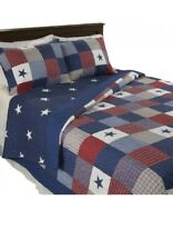 Quilted Blanket Red White and Blue Bedspread for Twin Bed New 1 Sham