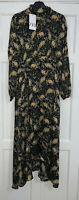 ZARA AW19 LONG FLOWING FLORAL PRINT ASYMMETRIC HIGH NECK MIDI DRESS SIZE S BNWT