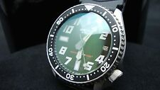 Vintage Seiko diver 7002 Auto MEGA MOD BIG NUMBER GREEN TINT SAPPHIRE Watch H82.