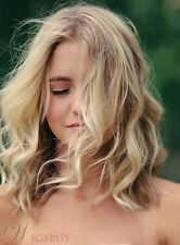 Blonde Peaceful Mid-length Loose Wave Synthetic Hair Wig