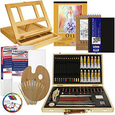 66-Piece Custom Artist Oil Painting Set with Canvas & Paint & Acessories