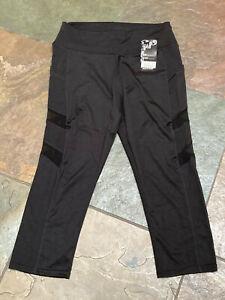 1120 GM Fashion L/XL Legging Hi Waist Capri W Pockets & Sheeer Sides NWT B