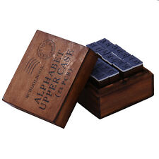 Alphabet Rubber Stamps Wooden Box Set Vintage Style Wood Letters Number 28pcs
