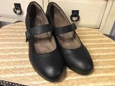NATURAL SOUL NATURALIZER Women's wedge Black Leather Mary Jane Comfort Shoes 10M