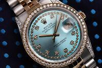 Ladies Rolex Steel & Gold 36mm Datejust Ice Blue String Diamond Dial Watch 16233