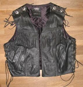 """ Geisel "" Men's Lace-Up Leather Vest/Motorrad- Vest / Vest Black Size 56"
