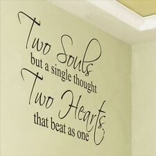 Huhome PVC Wall Stickers Wallpaper English love poetry TWO SOULS carved headboar