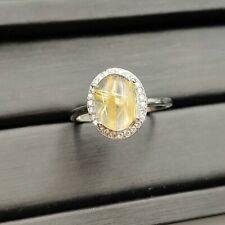 100% Natural Gold Rutilated Quartz Crystal Adjustable Fashion Ring 10x8mm AAAA