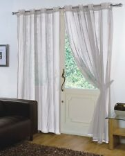 Pair of Silver 59'' x 90'' Voile Net Eyelet / Ring Top Curtain Panel + Tie Back