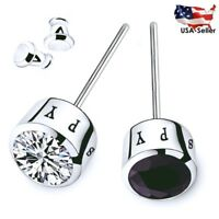 MEN STUD EARRINGS BLUE WHITE BLACK AAA CZ STUDS SPY SILVER PLATED EARRINGS 2017