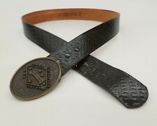 Military Buckle Leather Belt 42 WW2 Korea Vietnam Guadalcanal Basketweave Black