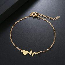 Silber Gold Edelstahl Damen Armband Herz Lebenslinie Anhänger Herzschlag Liebe