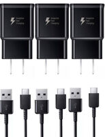 3X Adaptive Fast Travel Wall Charger for Galaxy S9 S8 Plus Note 8 w/Cable