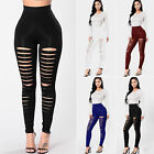 Women High Waisted Slim Fit Legging Pencil Pants Skinny Cut Out Ripped Trousers