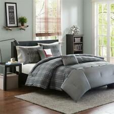 NEW! ~ COZY CLASSIC GREY BLACK RED PLAID STRIPE SOFT COMFORTER SET & 2  PILLOWS