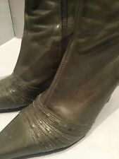 Stunning Faith Khaki Sage Green Leather Ankle Boots, Size 4