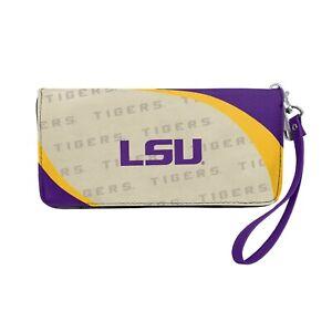 NCAA LSU Tigers Ladies Curved Zip Wallet Organizer