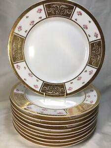 (10) GD & Cie 'Avenir'  Limoges France 10.875 Inch DINNER PLATES w/Gold & Roses