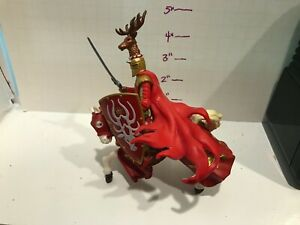Schleich Medieval Knight with Red Deer Hat and White Horse