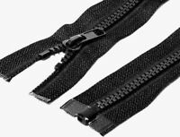 ZIPS BLACK, CHUNKY TEETH PLASTIC, OPEN END, CHOOSE FROM VARIOUS SIZES, FREE P&P