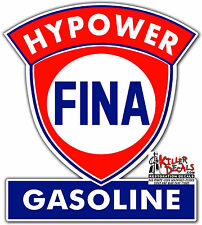 "(FINA-1) 24"" FINA HYPOWER GAS PUMP GASOLINE OIL DECAL  1956-73"
