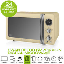 New Swan SM22030CN 20 Litre 800W Retro Digital Microwave Cream
