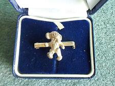 NIB Merrythought Cheeky Teddy Bear Hallmarked English Solid Silver Pin Brooch