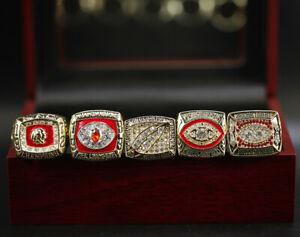5 Pcs 1972 1982 1983 1987 1991 Washington Redskins Championship Ring Display Box