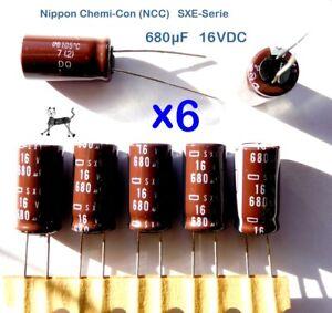 680uF 16V (6 Stück) - Nippon NCC Elko - SXE-Serie 105°C Low ESR - 10x20